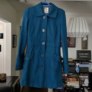 Tulle Teal Wool Coat
